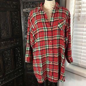 Lauren Ralph Lauren Plaid Flannel Sleep Shirt xl